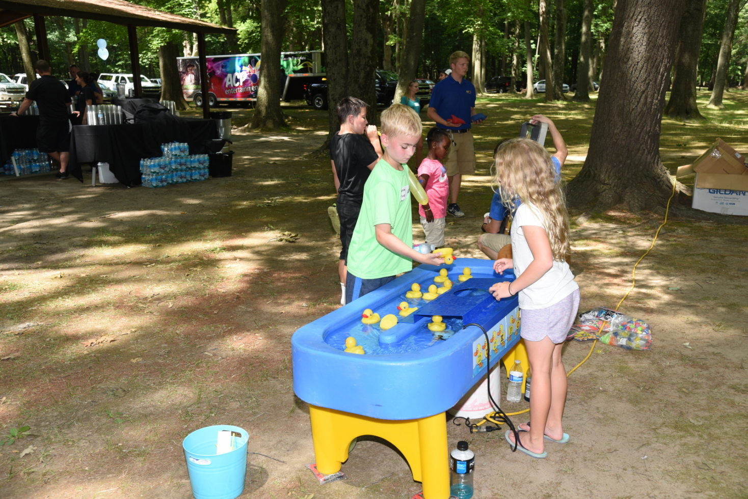 Kids playing duck pond game
